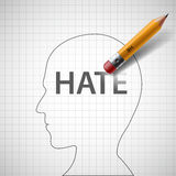 Pencil erases in the human head the word hate. Xenophobia and mi Royalty Free Stock Images