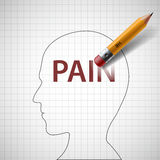 Pencil erases in the human head the word pain.  Stock Photos