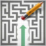 Pencil erases maze. New opportunities. Stock illustration. Pencil erases maze and New opportunities. Stock illustration stock illustration