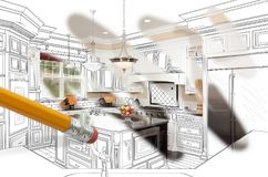 Pencil Erasing Drawing To Reveal Finished Custom Kitchen Design stock illustration