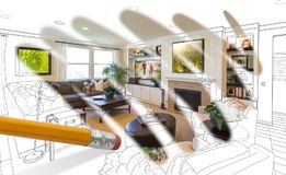 Pencil Erasing Drawing To Reveal Finished Custom Living Room Stock Photos