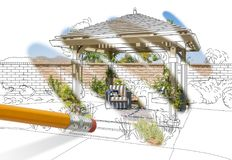 Pencil Erasing Drawing To Reveal Finished Pergola Patio Cover Royalty Free Stock Image
