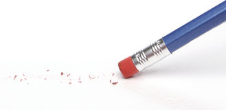 Pencil erasing a mistake stock photography