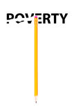 Pencil erasing the word POVERTY Royalty Free Stock Images