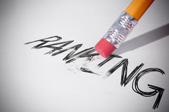 Pencil erasing the word Ranking. On paper Royalty Free Stock Image