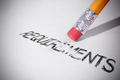 Pencil erasing the word Requirements Royalty Free Stock Photo