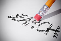 Pencil erasing the word Search Royalty Free Stock Photos