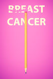 Pencil erasing the words BREAST CANCER Royalty Free Stock Photography