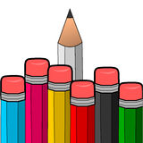 Pencil-01. Every other pencil just show the eraser and only one pencil show the true pencil stock illustration