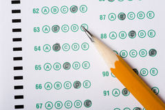 Pencil on Exam royalty free stock photography