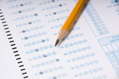 Pencil on Exam stock photos