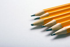 Pencil with experience. New and used pencils. Empty space for text Stock Image