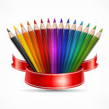Pencil fan with ribbon on white Royalty Free Stock Photos
