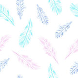 Pencil feather pattern. Seamless feather pattern is drawn with colored pencils royalty free illustration