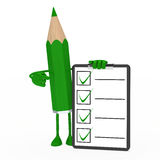 Pencil figure checklist Royalty Free Stock Images
