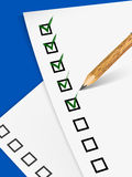 Pencil filling up the questionnaire on white paper. Vector illustration Stock Photography