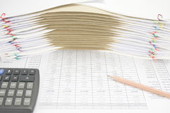Pencil on finance account have envelope between paperwork Royalty Free Stock Photos