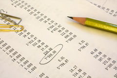 Pencil on the financial report. Pencil and paper clips lay on the financial report Royalty Free Stock Photography