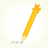Pencil is on fire  vector. Illustration Royalty Free Stock Photo