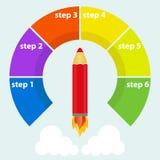 Pencil flies up, startup. Flat design, vector illustration, vector Stock Photos