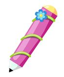 Pencil with flower stock illustration