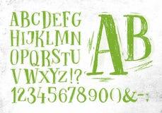 Pencil font green alphabet Stock Images