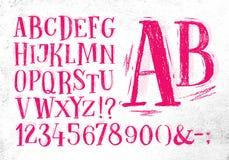 Pencil font pink alphabet Royalty Free Stock Photo