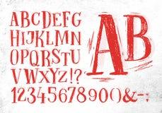 Pencil font red alphabet Stock Image