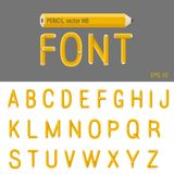 Pencil Font vector. Creative type design. Educatio Stock Photos