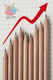 Pencil form a graph marketshare Stock Image