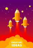 Pencil in the form of a rocket. Creative idea startup Stock Photography