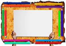 Pencil Frame  on paper  background Royalty Free Stock Images
