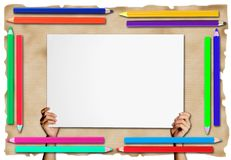Pencil Frame  on paper  background Stock Photo
