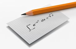 Famous mathematical equation. Pencil and the Gauss famous mathematical equation on bright background stock photography