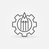 Pencil in gear icon. Vector minimal blogging or copywriting concept symbol or design element in thin line style Royalty Free Stock Image
