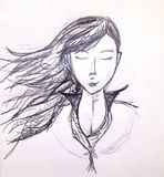 Pencil girl. Drawing of a girl in a happy calm calm mood Stock Photography