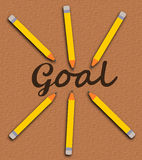 Pencil goal Stock Image