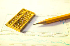 Pencil and gold abacus chart Royalty Free Stock Image