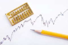 Pencil and gold abacus chart Royalty Free Stock Images