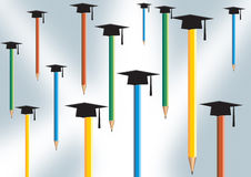 Pencil  and graduate cap Royalty Free Stock Photography