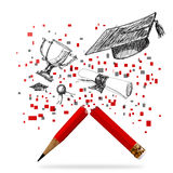 Pencil of graduation celebration Royalty Free Stock Images