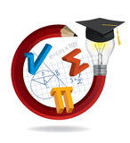Pencil With Graduation Hat Cap And Math Symbols Royalty Free Stock Image