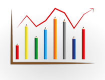 Pencil graph. Good business graph process by pencil Royalty Free Stock Photography