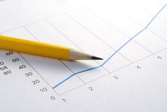 Pencil and graph Royalty Free Stock Photo