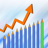 Pencil  with graph  on  abstract  background Stock Image