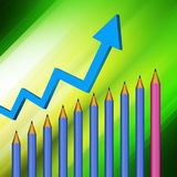 Pencil  with graph  on  abstract  background Royalty Free Stock Photo