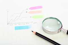 Pencil and graph grid scale paper Stock Photography