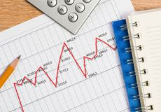 Pencil and graph growth, workplace businessman Stock Image