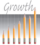 Pencil-graph.jpg. A Pencil bar graph showing growth Royalty Free Stock Image