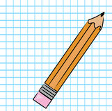 Pencil on graph paper Royalty Free Stock Image